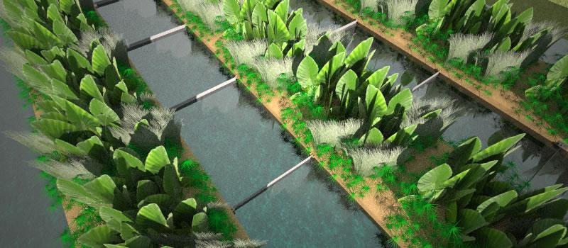 AquaBiofilter floating wetland maze baffles China 2004